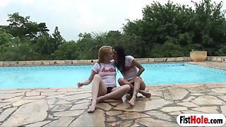 adorable atina sluts fist fucking each other at the pool
