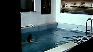 Classic natural ladies swimming naked in the pool