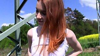 Flashing redhead fucking outdoors