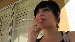 Hottest homemade Brunette, Smoking sex scene