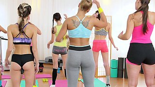 Fitness Rooms Lesbian threesome for hot and sweaty gym babes