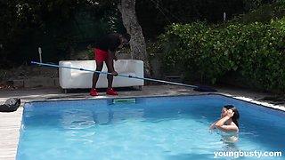 MILF babe Gina Ferocious fucked hardcore by her black pool boy