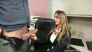 Dazzling secretary Rachel Roxxx gives stout blowjob to her boss Billy Glide