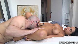 Big tits Latina pornstar reaches orgasm while riding a big cock hardcore
