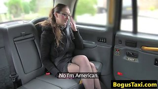 Inked american taxi babe jizzed on spex