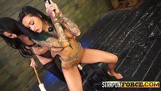 tattooed babe machine fucked - straponforce