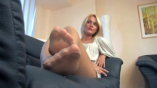 Sexy blonde nude pantyhose foot tease and soles