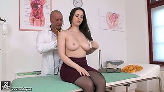 Curvy brunette mommy Nekane fucks a horny doctor in the hospital