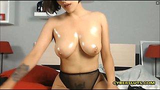 Beautiful girl oiled her amazing body