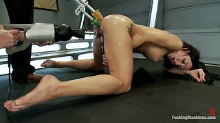 Amy Brooke and Phoenix get their butts drilled by a fucking machine