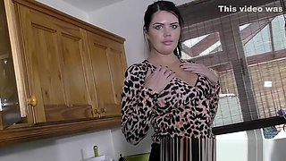 Busty babe Kelly in kitchen play with her perfect boobs