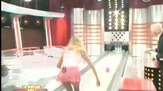 Sexy models give a peek upskirt at hot ass bowling on TV