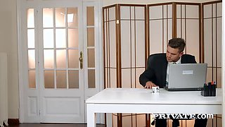 Horny office babe Aria gobbles on her boss' cock