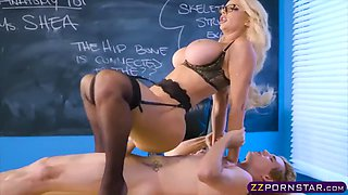 busty milf teacher fucked by a student in the classroom