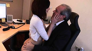 Young secretary and older boss fucking in the office