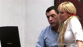 Busty blonde chick pleasing her boss schlong