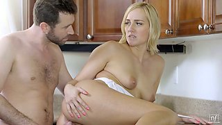 Fucking hot housewife Kate England is making love with her BF in the kitchen