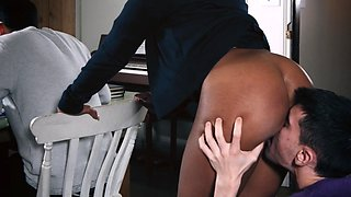 Hot ebony mom takes young boy for a round of hardcore