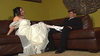Man jerks his cock off while a guy fucks his bride