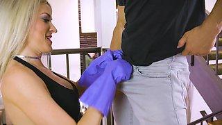 Blonde beauty jizzed on face after a wild fuck
