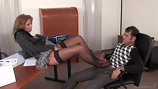 Horny office girl with big juggs gets on top then rides dick till orgasm