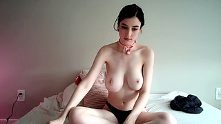 Cute white Felix clamps her pink nipples on cam