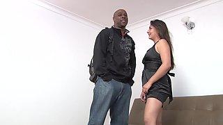 Curvy Latina in a little black dress fucked by big ebony cock