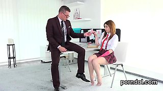 Cute schoolgirl gets tempted and banged by aged teacher