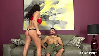 Curvy brunette sex bomb bends over for a handsome hunk's cock