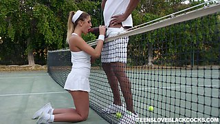 Concupiscent tennis babe August Ames gets intimate with one black dude