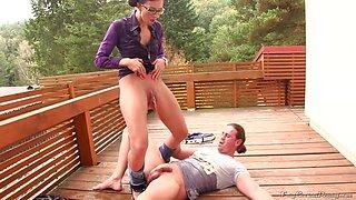 Brunette woman enjoys outdoors sex mutual pissing fun