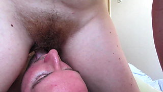 Drinking piss and Facesitting - Grinding from a hairy pussy