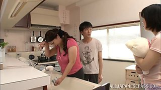 Asian wife with  big melons getting her face fucked in the kitchen