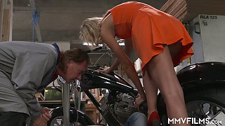 Slim blond bitch Jenny Smart gets intimate with two kinky mechanics