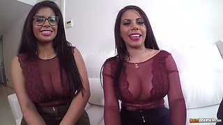 Smoking hot Sheila Ortega and her friend like to share a dick