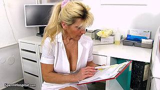 Granny Renata jerking a patient's hard cock