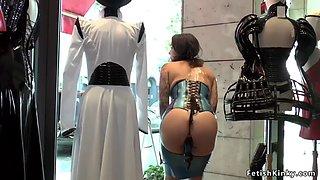 Small tits slave fucked in public shop