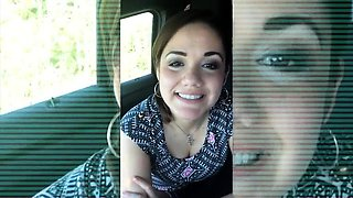 Pretty young brunette delivers a fabulous blowjob in the car