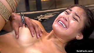 Black master brutal fucks Asian slave