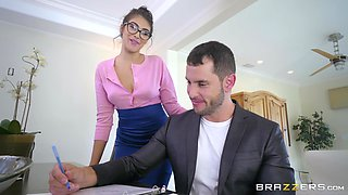 Curvy secretary babe Stephanie West rides her boss at the office