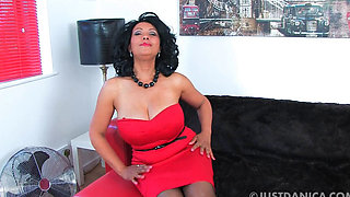 Danica Red masturbating in Heels and Black Stockings