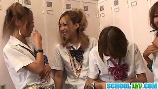 Rena Konishi And Her Schoolgirl Friends Share A Cock