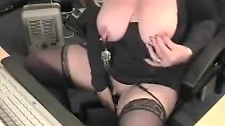 Sexy grandmother with large clit has fun at pc