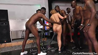 Moka Mora can not have enough of black dicks, even while she is getting gangbanged