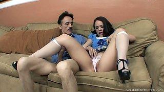Scrawny dude surprises Kristina Rose with his massive aggressive dick