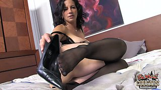 Brutal African man fucks chubby brunette mommy Melissa Monet in mish pose