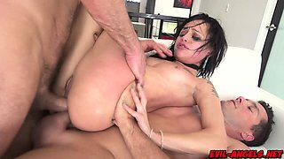 Holly Hendrix banged hard in extreme double anal scene!