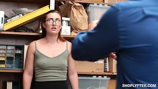 Kat Monroe is a babe with glasses attacked by a horny officer
