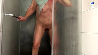 Horny mature wife with tiny boobs gets banged in the shower