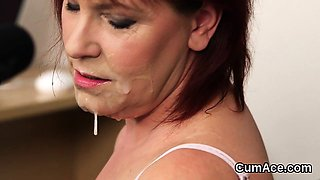 Spicy idol gets cumshot on her face sucking all the semen